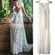 Women's Lace White Dress, Sexy/Beach/Maxi Deep V Sleeveless See-through - USD $16.99
