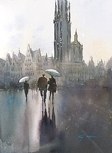 Antwerp, Belgium IV by Keiko Tanabe Watercolor ~ 11 1/2 x 8 1/4 inches (29 x 21 cm)