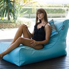Shop Temple & Webster outdoor furniture online for cheap sunloungers & chaise lounges. Bean Bag For Dogs, Bean Bags, Outdoor Bean Bag, Bean Bag Covers, Pool Toys, Sit Back And Relax, Green Stripes, Sun Lounger, Navy And White