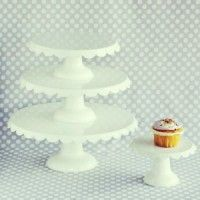 We adore these darling enamel cake stands with a classic scalloped edge. Powder coated finish gives the look of cream enamel. Choose the perfect size for your occasion: petite: x (perfect for cupcakes) small: x D medium: x D large: x Candy Jars, Candy Buffet, Cake And Cupcake Stand, Cupcake Cakes, 12 Inch Cake, Tea Party Theme, Party Party, Party Props, Party Ideas