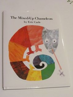 """The Mixed-Up Chameleon"" by Eric Carle. Using transparencies for a chameleon scavenger hunt. Preschool Colors, Preschool Literacy, In Kindergarten, Teach Preschool, Preschool Crafts, Library Lessons, Art Lessons, Children's Library, Mixed Up Chameleon"