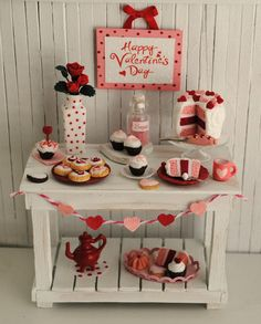 Miniature Valentine Farmhouse Baking Table by LittleThingsByAnna, $79.99