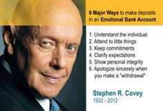 Stephen Covey - Emotional bank account