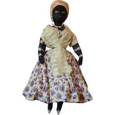 "Antique Brazilian folk art ""Bahia Woman "" black cloth doll~ Amazing! from arabellesantiques on Ruby Lane"