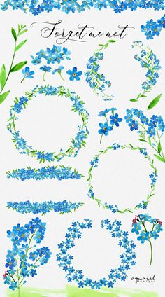 Cherry Blossom Watercolor, Watercolor Flowers, Watercolor Paintings, Flower Tattoo Designs, Flower Tattoos, Forget Me Not Tattoo, 1 Clipart, Forget Me Not Blue, Blog Website Design