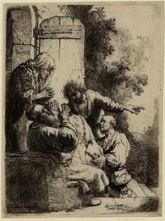 Joseph`s coat brought to Jacob - Rembrandt