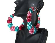Basketball Wives POParazzi Inspired Pink Turquoise Crystal Rhinestone Chubby Bamboo Hoop Earring