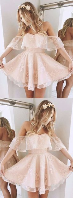 A-Line Off-the-Shoulder Short Pearl Pink Lace Homecoming Dress,Short/Mini Bridal Dress,Sweet 16 Cocktail Dress,Plus Size Prom Dress,Homecoming - Dresses i luv - Lace Homecoming Dresses, Hoco Dresses, Dresses Short, Dance Dresses, Wedding Dresses, Short Sweet 16 Dresses, Graduation Dresses, Ball Dresses, Pink Short Dresses