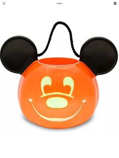 Disney Parks Mickey Mouse Pumpkin Light Up Trick-Or-Treat Pail Jack-O'-Lantern #Disney
