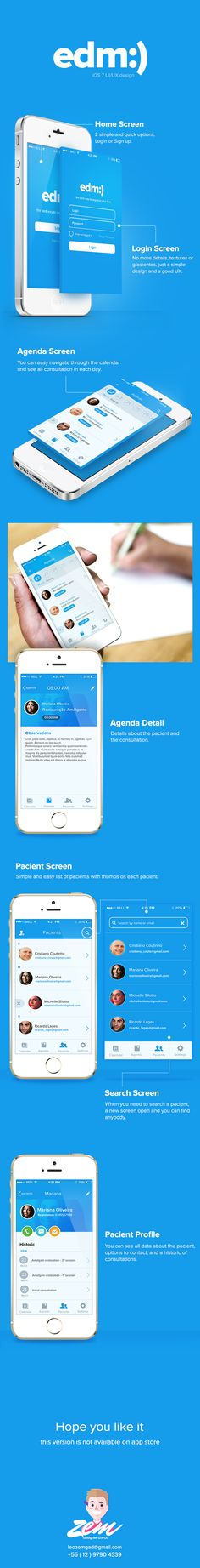 EDM - New mobile design by Leonardo Zem, via Behance. Tendencies for 2014 in UI/UX design. Gui Interface, User Interface Design, Mobile Ui Design, App Ui Design, Site Design, Flat Design, Design Design, App Design Inspiration, Mobiles