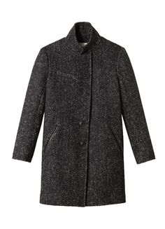 Herringbone Coat -Gorgeously sophisticated in a luxe herringbone tweed and finished off with rich leather trim at the welt pockets, this refined coat is cut with a super chic, boy-meets-girl silhouette. (lethimydung-fd1a1)