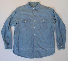 3a90cb4907f4 Vintage workwear  Vintage BIG YANK Chambray Work Shirt with Sweat Proof  Pocket