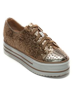 Take a look at this Gold Doge Glitter Platform Sneaker by Penny Sue and The Shoe Guru on #zulily today!