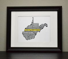 WEST VIRGINIA MOUNTAINEERS Collage State Print by bandaprints