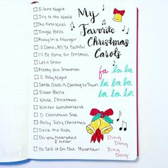Beautiful bullet journal Christmas spread! Lots of great ideas for the holiday, so I created a Christmas Carol list in my bujo! Helps organize my favorites, which always comes in handy for caroling. Adorned with pretty and festive doodles and calligraphy. #bulletjournal #christmas #list #bujo #bulletjournalcollection #bulletjournalcommunity #favoritethings #Singing #organized