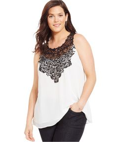 City Chic Plus Size Lace-Yoke Blouse - Tops - Plus Sizes - Macy's