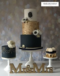 Penelope Parfait navy and gold sequin 'mr and mrs' wedding cake