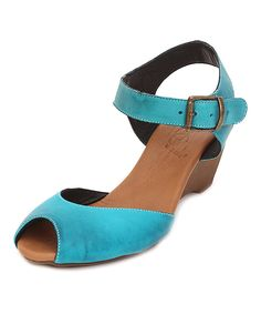 Take a look at this Turquoise Leather Peep-Toe Sandal today!