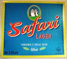 Safari Lager Beer Label Tanzania