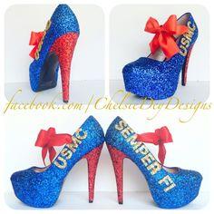 Hey, I found this really awesome Etsy listing at https://www.etsy.com/listing/102616548/usmc-semper-fi-marine-glitter-high-heels