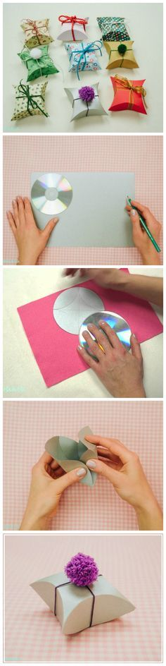DIY: Beautiful Square Pillow Gift Box Tutorial More (Diy Geschenke) Craft Gifts, Diy Gifts, Hobbies And Crafts, Diy And Crafts, Diy Paper, Paper Crafts, Papier Diy, Gift Wrapper, Gift Packaging