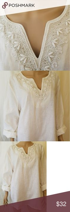 "Talbots linen top This is a NWOT Talbots white linen top. Long enough to wear as a tunic with pants or leggings and would look great as beachy cruise wear. Great bathing suit coverup. Nice and roomy, 28"" long and 23"" sleeves. Talbots Tops Tunics"