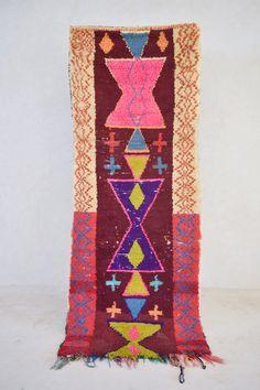 "36 HOURS IN SAIGON 7'6"" x 2'11"" Boucherouite Rug. Vintage Moroccan. Tapis Berber. Mid Century Modern"