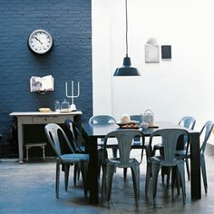 Industrial style dining room, cafe-style dining chairs