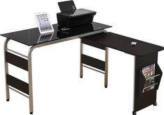 Garion Black Glass Metal Computer Desk