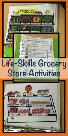 Special Education Grocery Store Activities for Functional Life Skills Grocery store flyers, stores with prices, coupons, worksheets and task cards requiring functional literacy and math skills to practice finding prices, making shopping lists and adding money, as well as check writing. $14