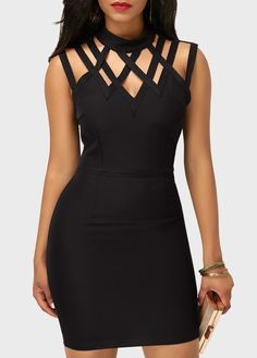 Black High Neck Cutout Sleeveless Sheath Dress on sale only US$33.00 now, buy cheap Black High Neck Cutout Sleeveless Sheath Dress at liligal.com