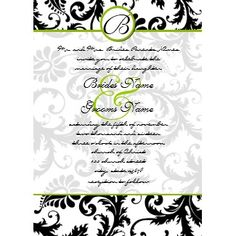 Apple Green Damask Swirls Wedding Invitation invitation