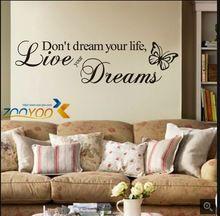 Ne pas rêver sa vie de décoration murale créative décalcomanies ZooYoo8142 décoratifs e parede amovible vinyle stickers muraux(China (Mainland))