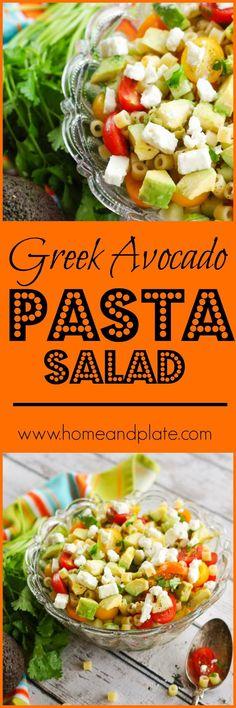 Greek Avocado Pasta Salad   Simple summer salad recipe with avocado, feta, tomato, etc.