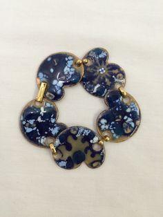 Vintage 50's blue enamel and copper by UniqueVintageChicago