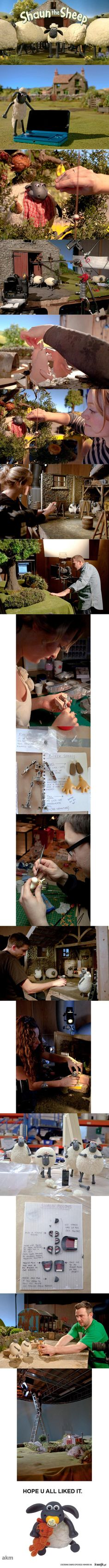 The puppets are made out of Plasticine with special metal skeletons to control the movement of their bodies. Another things are added such as clothes and wool.
