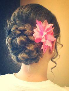 updo with braid #flower #braid #bun