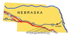Image map of the auto tour route driving directions across Nebraska.