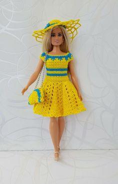 Curvy Barbie clothes Fashionistas Barbie Crochet Dress for Curvy Barbie Doll, hat, handbag Barbie Clothes Patterns, Clothing Patterns, Crotchet Patterns, Crochet Doll Clothes, Doll Shop, How To Make Handbags, Handmade Dresses, Baby Knitting, Barbie Dolls