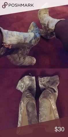 Taupe/Gray Velvet Ankle heels Rounded heel, 4.5 inch heel. Never worn. Velvet reflective texture. Gold detail zip Fashion Nova Shoes Heeled Boots