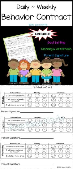 Printable behavior contract. Use general behavior goals or personalize to address different concerns. Use positive reinforcement, and keep parents involved.