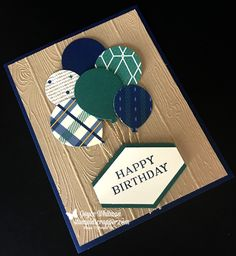 True Gentleman designer series paper, Pinewood Planks embossing folder, Perennial Birthday stamp set, Balloon Bouquet and Tailored Tag punch from Stampin' Up! were used to make this handmade birthday card.