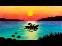 How to draw easy scenery or landscape using pastels and acrylic Oil Pastel Drawings Easy, Oil Pastel Paintings, Pastel Art, Oil Painting On Canvas, Easy Drawings, Painting Frames, Oil Pastel Landscape, Landscape Art, Landscape Paintings
