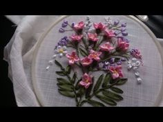(3) Hand embroidery. Ribbon work embroidery by hand. Ribbon embroidery flowers step by step. - YouTube