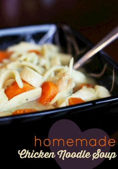 My mom's homemade chicken noodle soup is the best - hands down. It is a total comfort food that my Mom always made when we were growing up. It is the best!