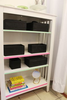 Spotted at Radical Possibility: Bathroom shelves lined with tape Bookshelves, Bookcase, Glitter Projects, Bathroom Shelves, American Crafts, Furniture Makeover, Tape, Furniture Design, Neon