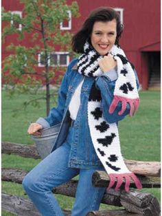 Calling all dairy farmers -   Udderly Silly Scarf - Have fun with crochet by stitching this whimsical black-and-white cow-colored scarf!  Designed by Betsy Dey  free pdf from freepatterns.com