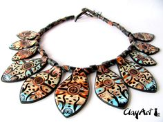 Indian Dream polymer clay necklace by Clay Art.