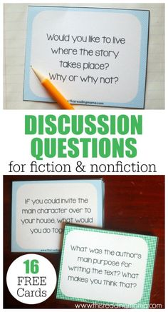 Get kids talking about what they've read with these FREE Discussion Question Cards for fiction AND nonfiction texts! Reading Workshop, Reading Skills, Teaching Reading, Reading Groups, Student Teaching, Reading Activities, Literacy Activities, Fun Learning, Kids Book Club