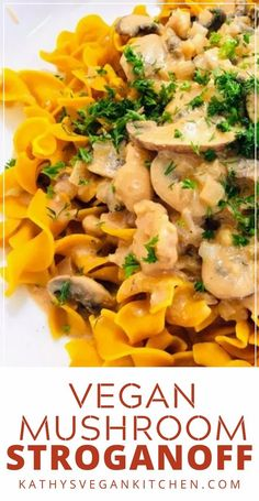 If you are looking for a creamy, decadent mushroom pasta, you will love this Creamy Vegan Mushroom Stroganoff Best Beef Stroganoff, Vegan Mushroom Stroganoff, Stroganoff Recipe, Mushroom Pasta, Pasta Dinners, Vegan Dinners, Meals, Delicious Vegan Recipes, Tasty